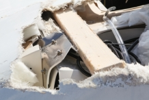 damaged truck roof close up