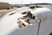 damaged truck roof drivers side